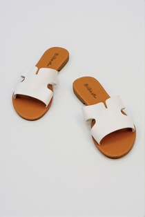 White Leather Open Toe Cutout Strap Sliders