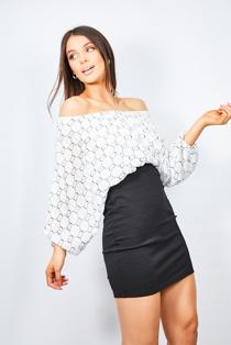 White Printed Batwing Top Pencil Dress