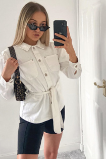 White Puff Sleeves Belted Denim Jacket