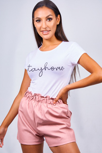 White Stay Home Slogan T-Shirt