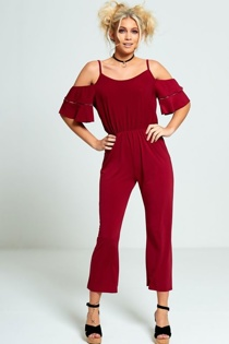 Wine Cold Shoulder Frill Sleeve Jumpsuit