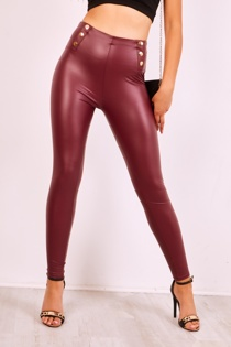 Wine Pu Leather High Waisted Gold Stud Leggings