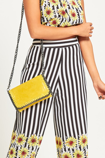 Yellow Metal Frame Leather Crossbody Bag