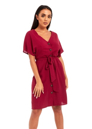 Burgandy Button Through Mini Skater Dress