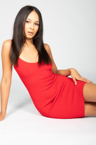 Red Ribbed Strappy Bodycon Dress