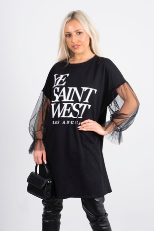 Black slogan mesh sleve t-shirt dress-Copy