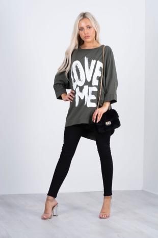 khaki love me slogan oversized t- shirt