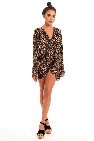 Brown Leopard Print Mini Cross Over Dress