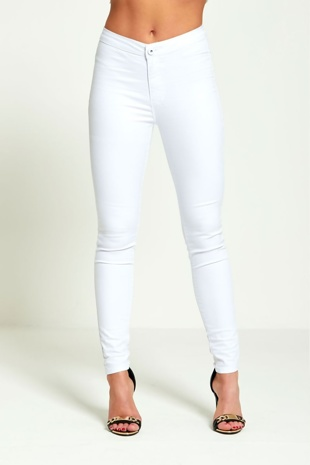 Plus White High Rise Super Skinny Jeans