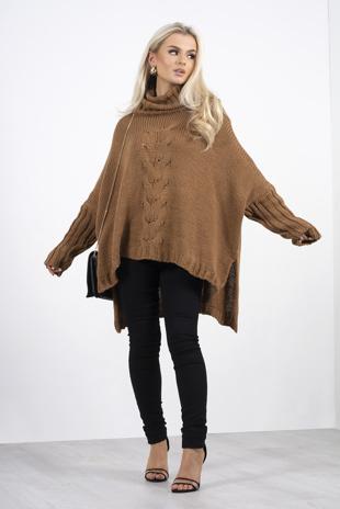 Brown roll neck knit side split oversized jumper