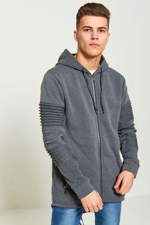 Ribbed Sleeve Longer Charcoal Hoodie