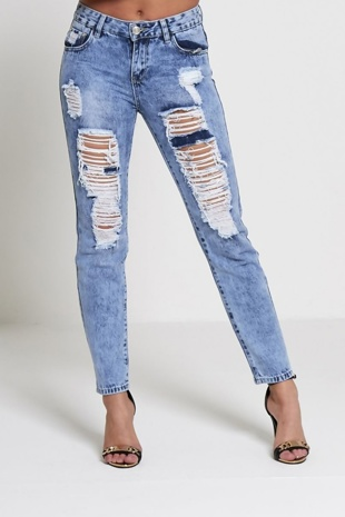 Denim Extreme Ripped Mom Jeans
