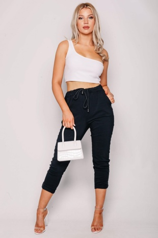 Black High Waisted Trousers With Turn Up Detail