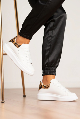 White Leopard Chunky Trainers