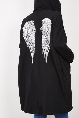 Black Sequin Angel Wings Hooded Cardigan