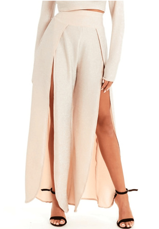 Rose Gold Glitter High Waist Split Leg Trousers