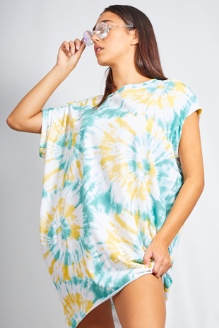 Yellow Tie Dye Oversized Pocket Tee Dress