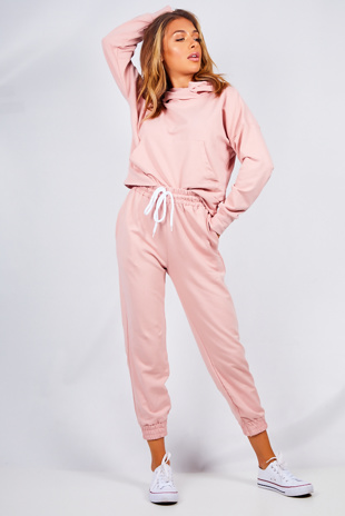 Baby Pink Cropped Hoody And Jogger Lounge Set