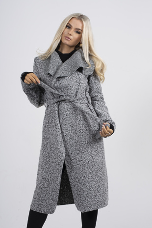 Grey Marl Textured waterfall Belted Coat