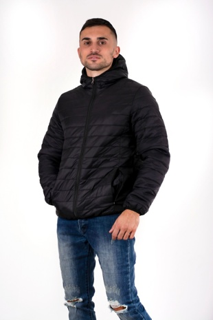 Mens Black Lightweight Puffer Rain Jacket