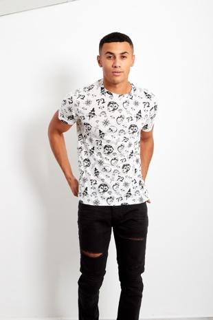 White Mens Sagan Graphic Print T-Shirt