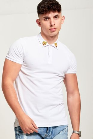 White Tiger Embroidered Collar Polo T-Shirt