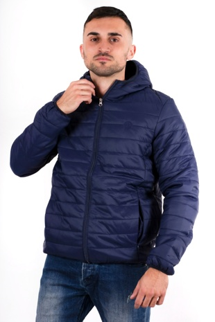 Mens Navy Lightweight Puffer Rain Jacket
