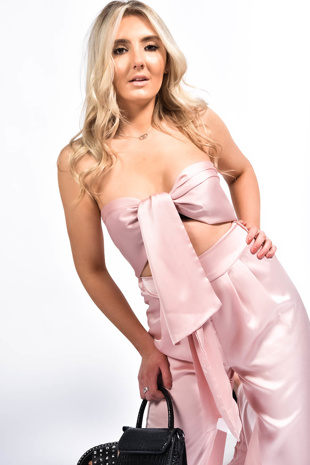 Pink Front Knot Top Palazzo Set