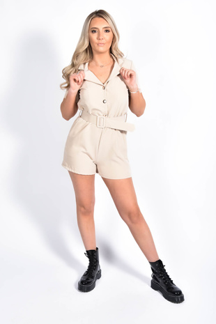 Beige Button Up Belted Playsuit