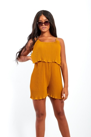 Tan Pleated Ruffle Hem Playsuit