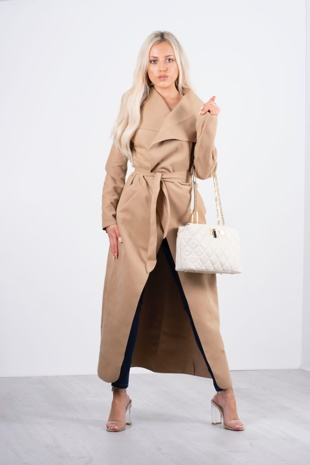 Beige collared trench coat