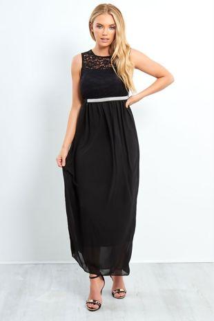 Black Lace Detail Diamante Belt Maxi Dress