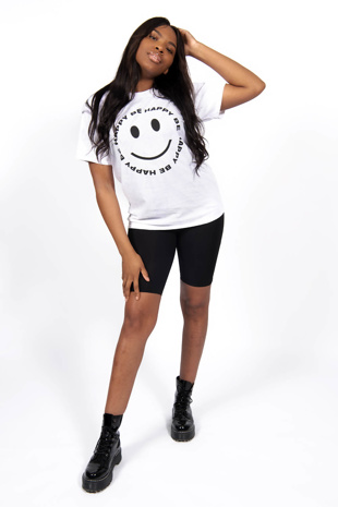 White Be Happy Print In Spiral T-Shirt