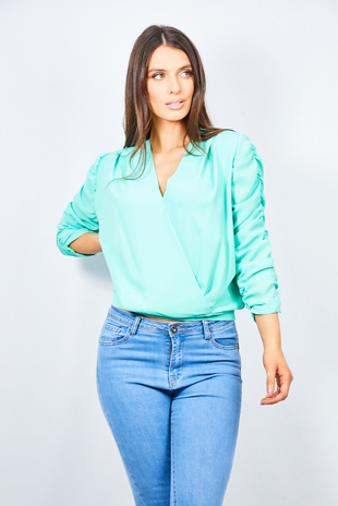 Mint Plunge Shirred Ruched Long Sleeve Blouse
