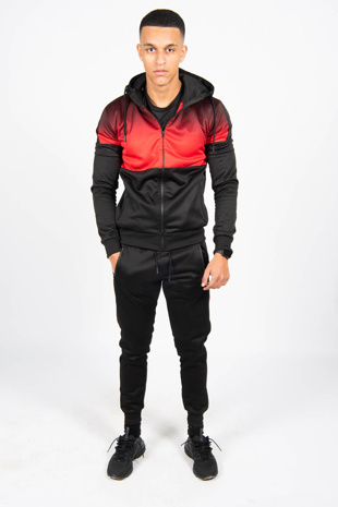 Mens Black Two Tone Hooded Skinny Fit Tracksuit