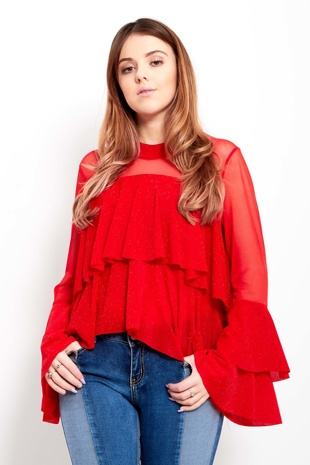 Red Frill Layered Top