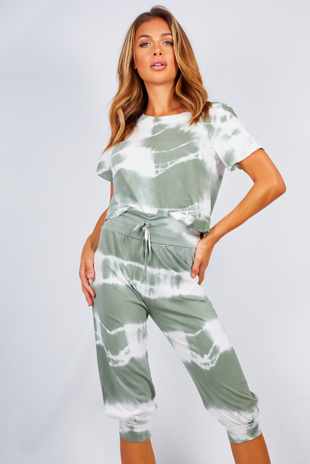 Khaki Tie Dye Crop Top And Pants Set