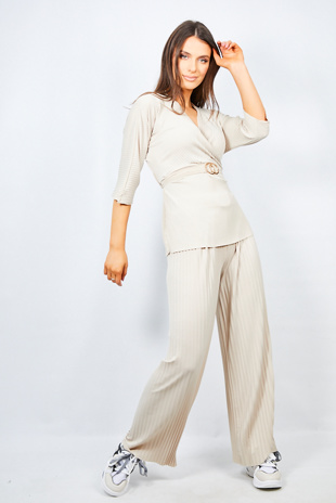 Beige Belt Detail Pleated Wide Leg Lounge Set