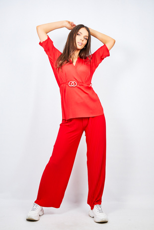 Red Belt Detail Pleated Wide Leg Lounge Set