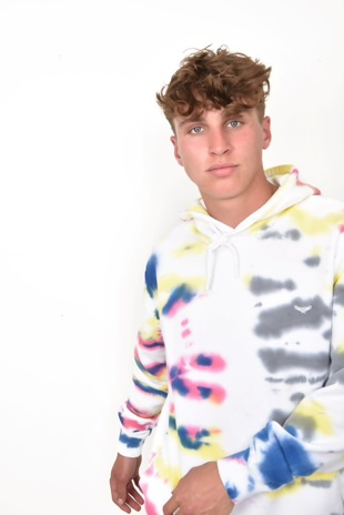 Mens White Rainbow Tie Dye Pullover Hoodie