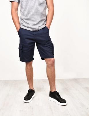 Mens Navy Bute Cargo Shorts