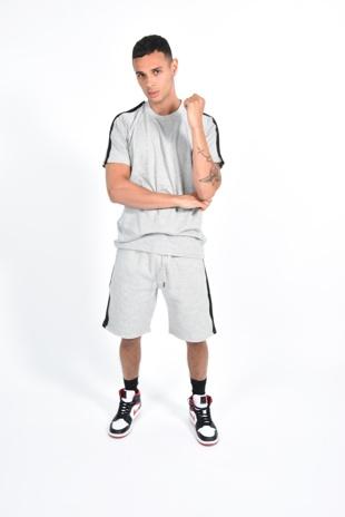 Mens Grey Monochrome Striped Short Set