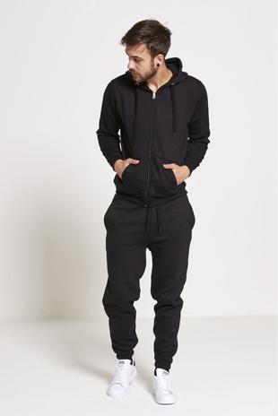 Mens Black Fleece Jogging Pockets Plain Tracksuit