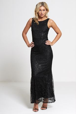Black Premium lace overlay maxi dress