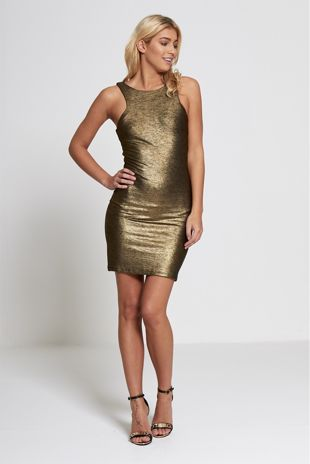 Gold Metallic Bodycon Mini Dress
