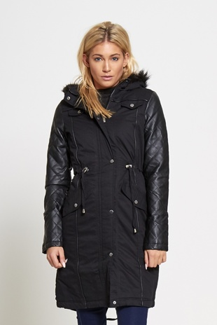 Black  Womens Faux Fur Hooded Parka Jacket