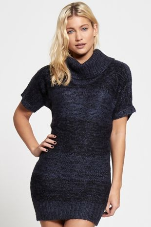 Navy Extreme High Neck Knitted Jumper Dress