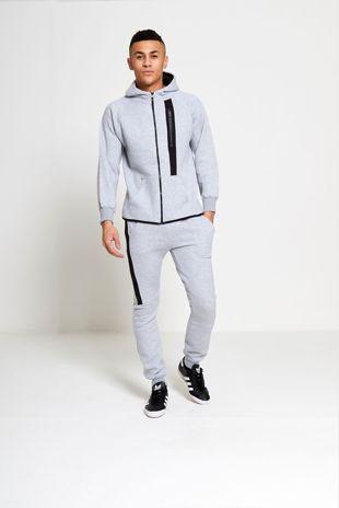 Grey Zip Detail Fleece Hooded Tracksuit