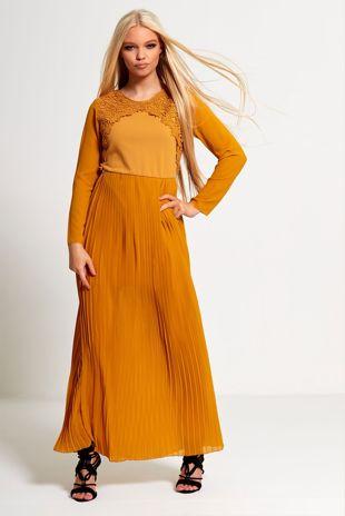 Mustard Crochet Pleated Maxi Dress