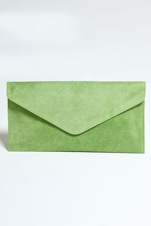 Green Suede Envelope Clutch Bag